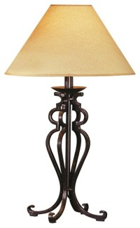 Rustic Wrought Iron Look Table Lamp - Traditional - Table ...