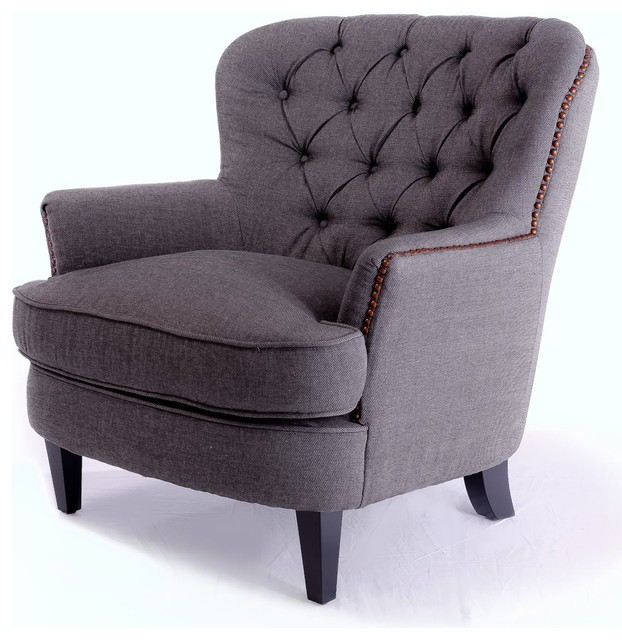 Alfred Tufted Gray Fabric Club Chair  Traditional