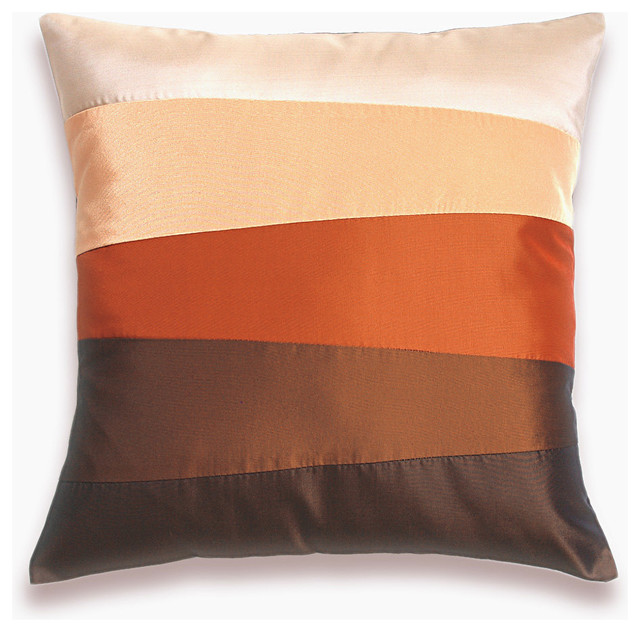 Cream Orange Red Rust Brown Pillow Cover 16 in SIENNA DESIGN