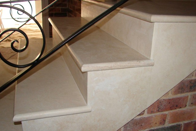 Travertine Stair Treads transitional