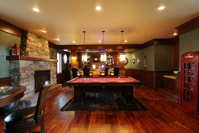 pub style table and chair set recliner with ottoman irish addition - traditional family room other metro by vance vetter homes