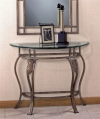Wrought Iron Console Table w Demilune Glass T ...