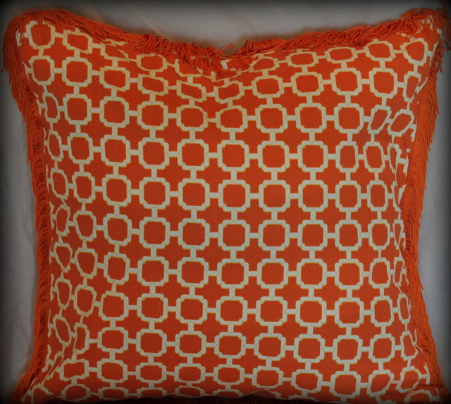 Orange and White Lattice pillow with fringe trim  Modern
