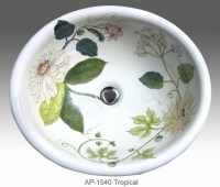Tropical hand painted design in self rimming sink ...