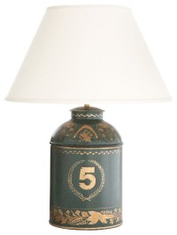 Green Tole Number Five Tea Caddy Lamp - Traditional ...