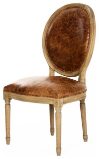 French Country Louis XVI Oval Back Leather Dining Side ...