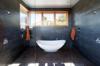 Freestanding bathtub in shower room (wet room ...