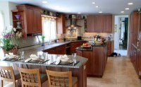 Transitional Kosher Kitchen with Island and Peninsula ...