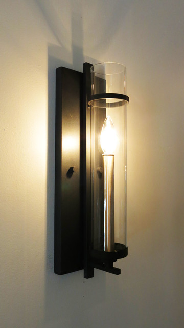 Clearly Modern Glass Tube Wall Sconce  Eclectic  Wall