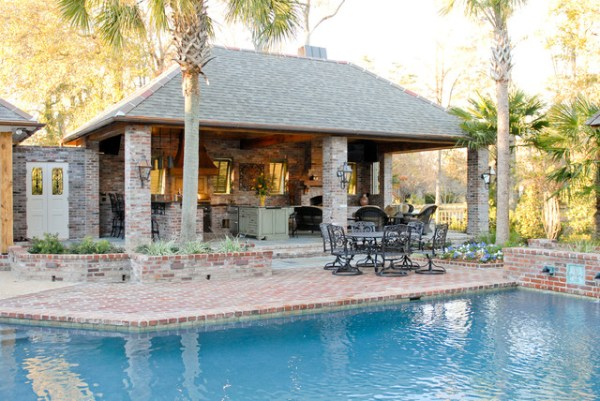 pool house with outdoor kitchen Lake at White Oak Outdoor Kitchen