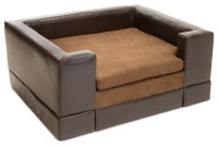 Rover Chocolate Brown Leather Dog Sofa Bed, Large ...