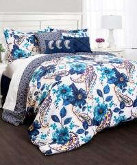 Blue Floral & Paisley Seven-Piece Comforter Set modern ...