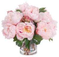 Faux Peony Bouquet in Cylinder Vase, Pink - Contemporary ...