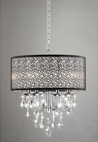 Indoor 4-Light Chrome/Crystal/Metal Bubble Shade ...