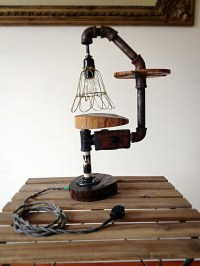 Rustic Industrial Log Table Lamp -- FREE SHIPPING - Rustic ...