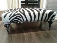 Cowhide Zebra Print coffee table Ottoman - Modern ...