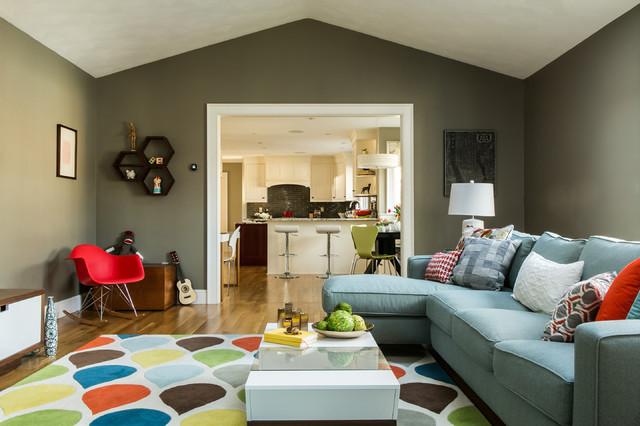 Mid Century Modern Family Room Transitional Family