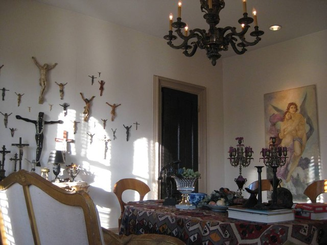 Victorian Dining Room with modern  funky art installation