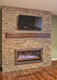 Stacked stone linear fireplace - Contemporary - other ...