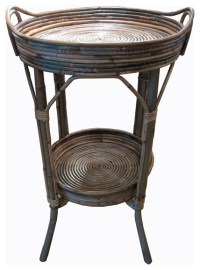 Woven Rattan Side Table with Round Tray - Tropical - Side ...