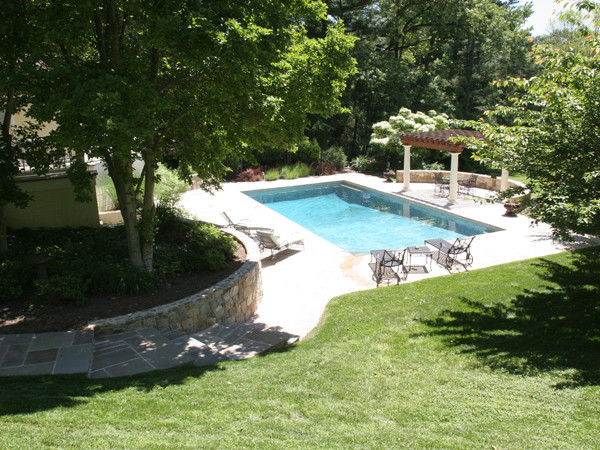 tuscan style landscape with pool