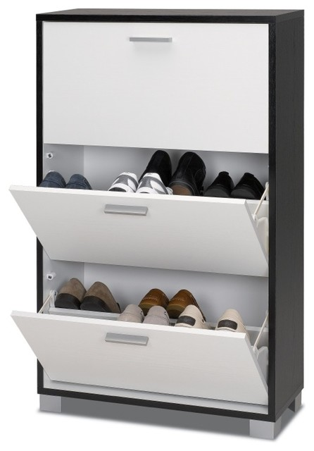 Black and White 3 Door Floor Standing Shoe Rack