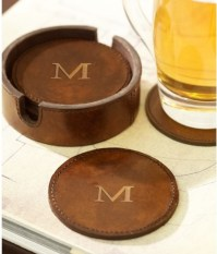 Saddle Leather Drink Coasters - Traditional - Coasters ...