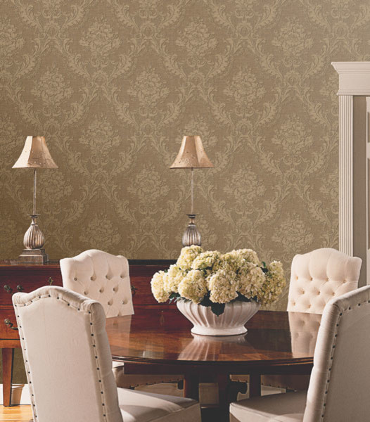 Damask Wallpaper  Traditional  Dining Room  other metro