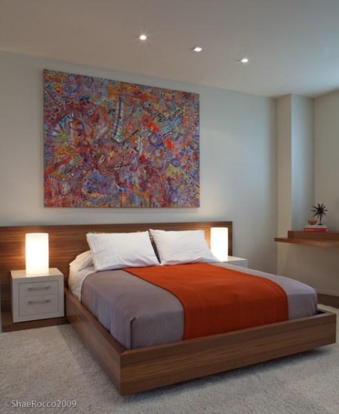 modern neutral bedroom design Modern Neutral Bedroom wood + orange accents