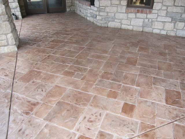 Concrete Patio With Stamped Concrete Overlay  Modern