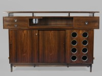 Midcentury Free Standing Bar with Laminate Top, Liquor ...