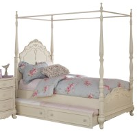 Homelegance Cinderella Canopy Poster Bed in Antique White ...