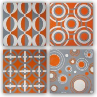 Hand Painted Original Orange & Gray Canvas Wall Art Set ...