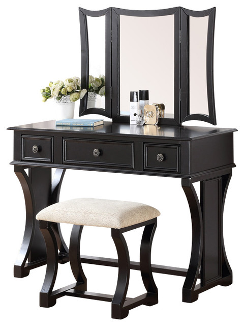 Curved Design 3Panel Mirror Vanity With Stool  Drawer Black  Contemporary  Bedroom  Makeup