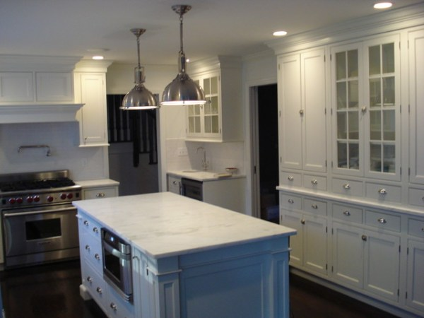 plain and fancy kitchen cabinets Beautiful Marble Counters - Traditional - Kitchen - new york - by Cornerstone Kitchen Cabinets, Inc.