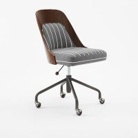 Bentwood Office Chair + Cushion, Walnut/Gray & White ...