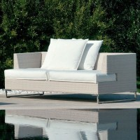 Outdoor Sofa in White Wicker - Outdoor Sofas - chicago ...