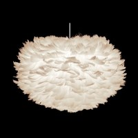 Feather Pendant Light with Oval Shade and White Hardware