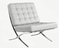 Barcelona White Leather Accent Chair - Modern - Living ...