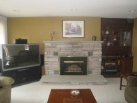 1970's Gas fireplace needs updating. Want TV above fireplace.