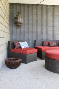 Moroccan Themed Patio with Ikat Pillows and Moorish ...