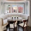 Curved banquette seat in kitchen traditional kitchen