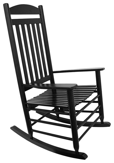 Black High Back Slat Adult Rocking Chair  Traditional
