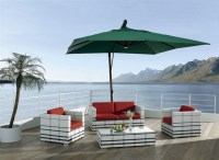 Akoi Patio Set & Umbrella - Tropical - Outdoor Lounge Sets ...