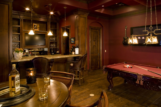 Game Room bar and wine room  Mediterranean  Family Room
