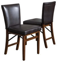 Rosalynn Brown Leather Folding Dining Chairs (Set of 2 ...