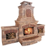 Tuscany Fireplace and Wood Boxes - Contemporary - Outdoor ...