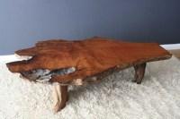 Vintage Mid-Century Burl Wood Slab Coffee Table ...