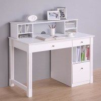 Deluxe White Wood Computer Desk with Hutch   Modern ...