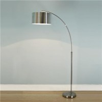 Nickel Arc Floor Lamp with Silver Drum Shade - Shades of ...